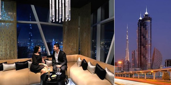 worlds tallest hotel opens in dubai With the opening of a 75-storeyed hotel, dubai breaks its own record of housing the world's tallest hotel & leaves the 355-meter tall marquis hotel behind.