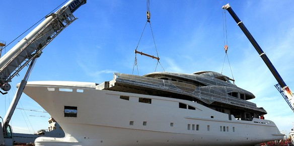 The hull and superstructure meet on the BILGIN 156-II Superyacht