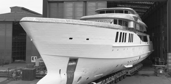 Project Spectre leaves the shed for the first time; one of the many Benetti superyachts in build