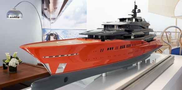 A scale model of 92-metre of the Diamond Coated Superyacht at the FLIBS