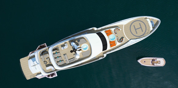 Rendering: The aerial view of the latest 49-metre high-tech superyacht