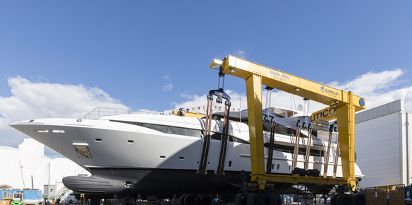 The Mangusta 46 is Mangusta's third displacement yacht takes to the water