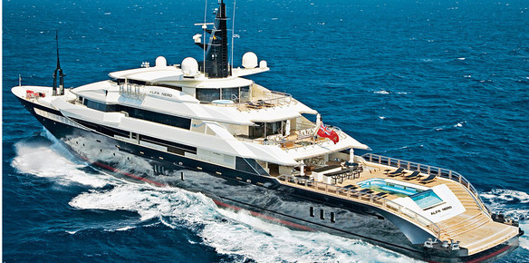 The 82-metre superyacht Alfa Nero, available for charter with Burgess