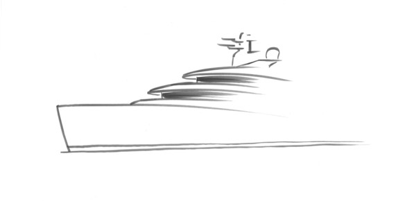 An official teaser sketch of the brand-new 62-metre Nobiskrug by Espen Oeino