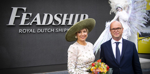Queen Máxima of the Netherlands and Feadship CEO, Jan-Bart Verkuyl