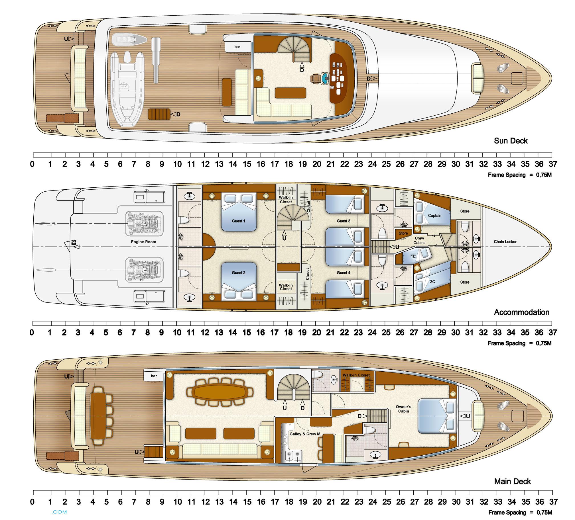 Adagio Yacht | Layout Aegean Yacht Motor   | superyachts com