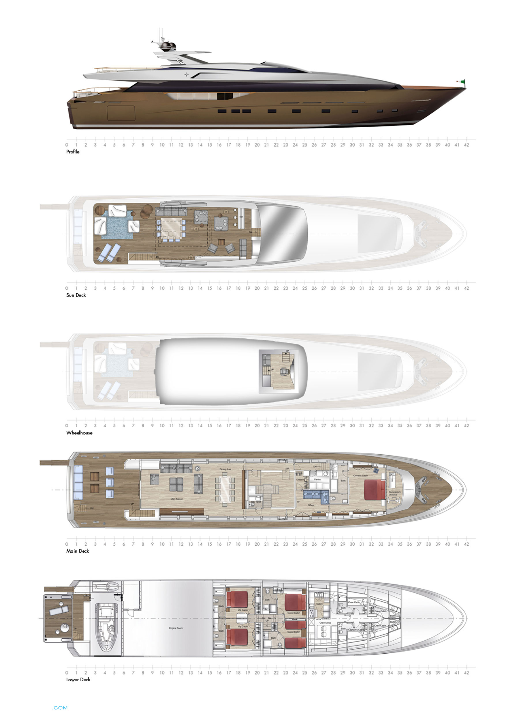 Regale 42 RPH Yacht | Layout Admiral Motor.. | superyachts.com