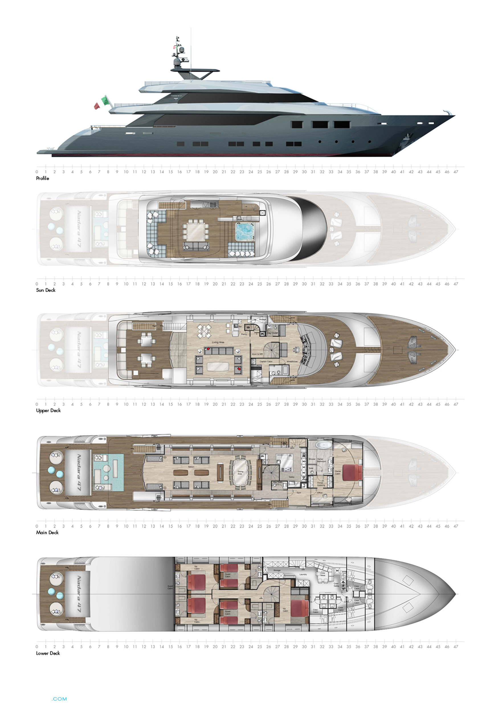 Layout on Mega Luxury Yachts Floor Plans