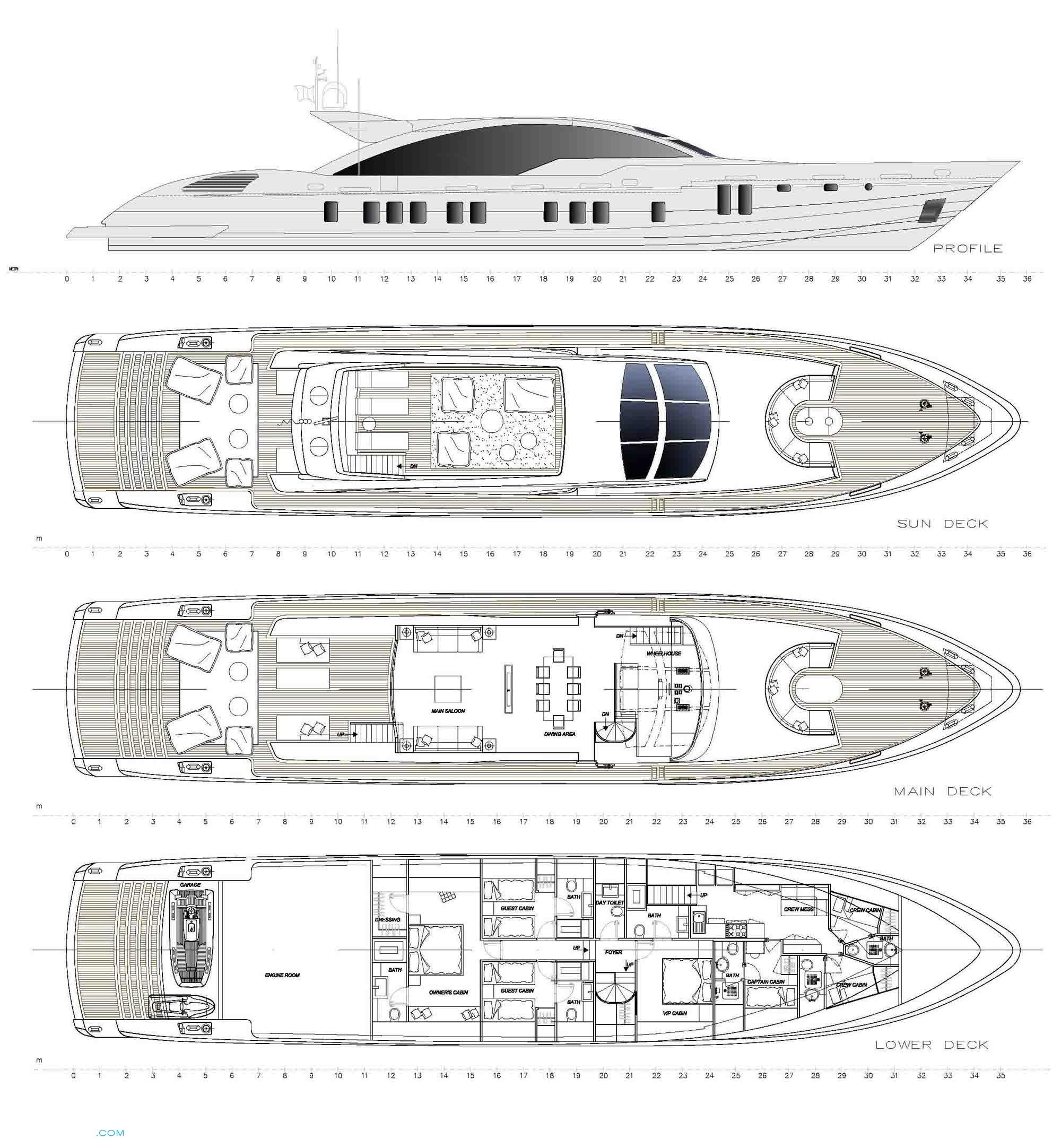Velvet 36 yacht layout tecnomar motor for Deck blueprints online