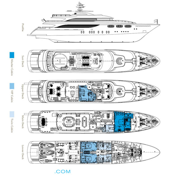 O'Neiro Luxury Yacht deck plans