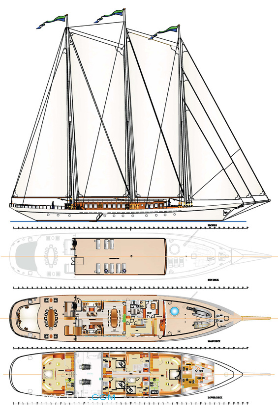 Galileo Luxury Yacht deck plans