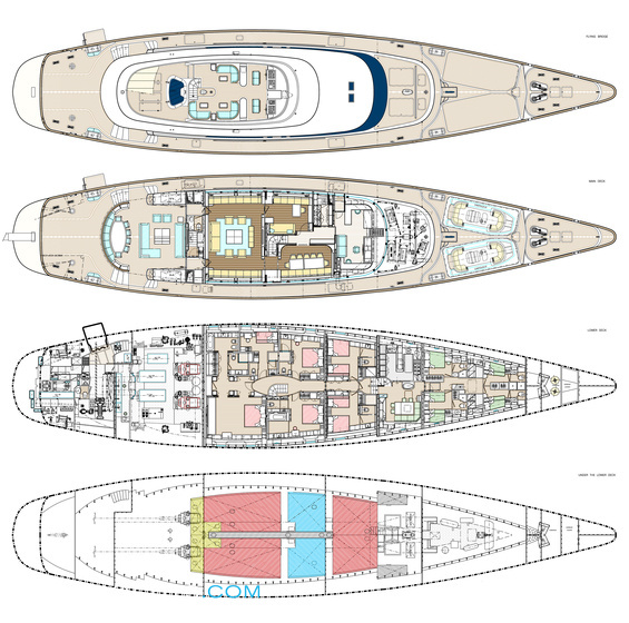 Rosehearty Luxury Yacht deck plans